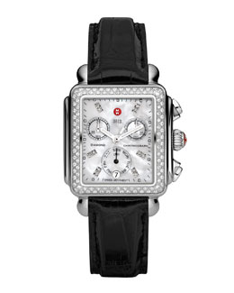 MICHELE Deco Diamond Watch Head & 18mm Black Alligator Strap