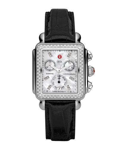 Deco Diamond Watch Head & 18mm Black Alligator Strap