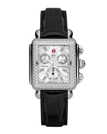 MICHELE 18mm Deco Diamond Watch Head, Steel