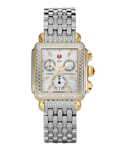 MICHELE Deco Diamond Dial Two-Tone Watch Head & Taper 7-Link Bracelet Strap