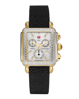 MICHELE Deco Diamond Dial Two-Tone Watch Head & 18mm Black Stingray Watch Strap