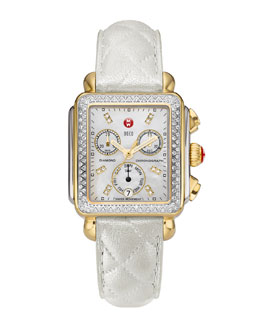 MICHELE Deco Diamond Dial Two-Tone Watch Head & 18mm White Quilted Leather Strap