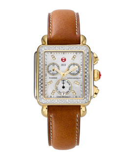 MICHELE Deco Diamond Dial Two-Tone Watch Head & 18mm Saddle Leather Strap