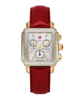 MICHELE Deco Diamond Dial Two-Tone Watch Head & 18mm Scarlet Patent Strap