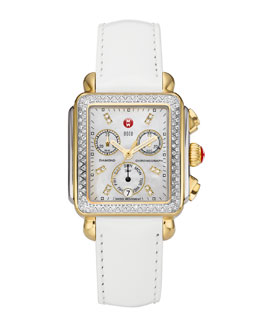 MICHELE Deco Diamond Dial Two-Tone Watch Head & 18mm White Patent Strap