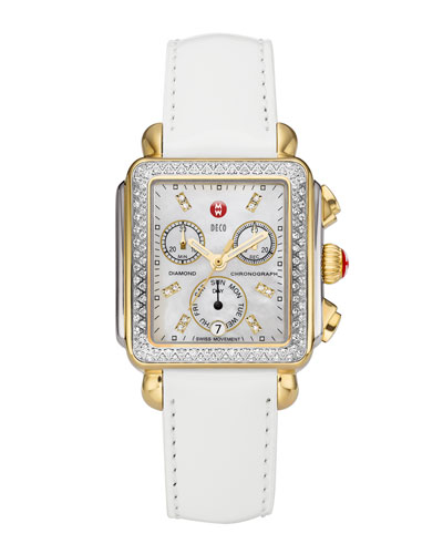 Deco Diamond Dial Two-Tone Watch Head & 18mm White Patent Strap