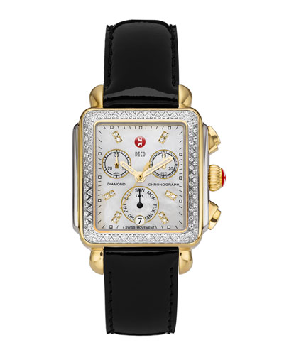 MICHELE Deco Diamond Dial Two-Tone Watch Head & 18mm Black Patent Strap