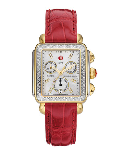MICHELE Deco Diamond Dial Two-Tone Watch Head & 18mm Garnet Alligator Strap