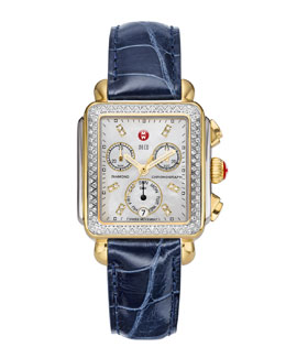 MICHELE Deco Diamond Dial Two-Tone Watch Head & 18mm Navy Alligator Strap