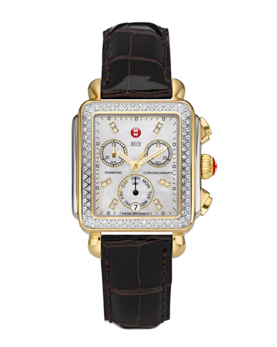 MICHELE Deco Diamond Dial Two-Tone Watch Head & 18mm Espresso Alligator Strap