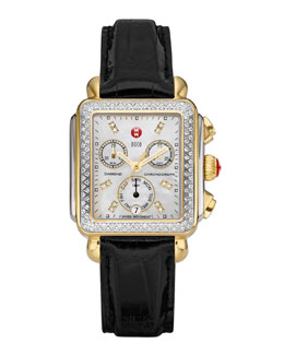 MICHELE Deco Diamond Dial Two-Tone Watch Head & 18mm Black Alligator Strap