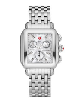 MICHELE Deco Diamond Dial Watch Head & 7-Link Bracelet Strap