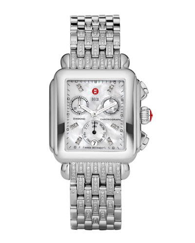 MICHELE Deco Diamond Dial Watch Head & Taper 7-Link Bracelet Strap
