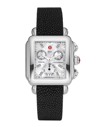 Deco Diamond Dial Watch Head & 18mm White Quilted Leather Strap