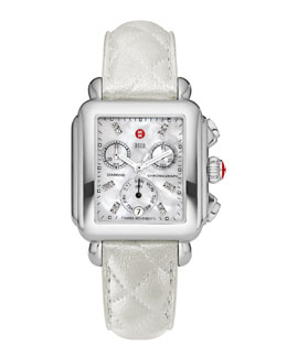 MICHELE Deco Diamond Dial Watch Head & 18mm White Quilted Leather Strap