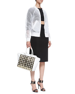 Milly Sheer Mesh Bomber Jacket, Long-Sleeve Crop Top & High-Waist Pencil Skirt