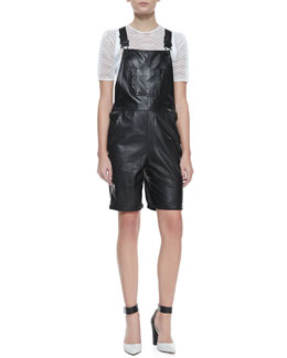 Milly Leather Shortalls & Sheer Mesh Short-Sleeve Tee