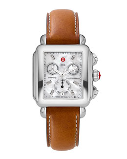 MICHELE Deco Diamond Dial Watch Head & 18mm Saddle Leather Strap