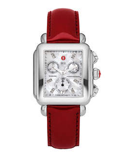 MICHELE Deco Diamond Dial Watch Head & 18mm Scarlet Patent Strap