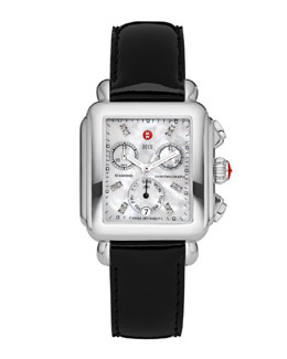 MICHELE Deco Diamond Dial Watch Head & 18mm Black Patent Strap