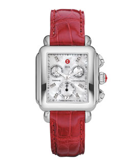 MICHELE Deco Diamond Dial Watch Head & 18mm Garnet Alligator Strap