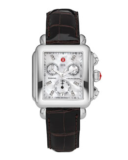 MICHELE Deco Diamond Dial Watch Head & 18mm Espresso Alligator Strap