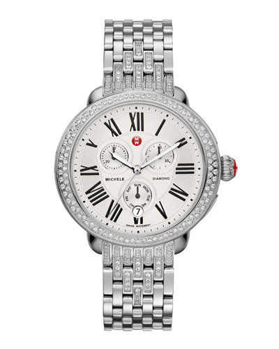 MICHELE Serein Diamond Watch Head & Diamond Taper 7-Link Bracelet Strap