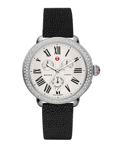 MICHELE Serein Diamond Watch Head & 18mm Black Stingray Strap