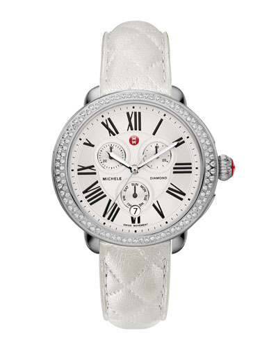 MICHELE Serein Diamond Watch Head & 18mm White Quilted Leather Strap