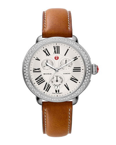 MICHELE Serein Diamond Watch Head & 18mm Saddle Leather Strap