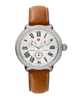 Serein Diamond Watch Head & 18mm Saddle Leather Strap