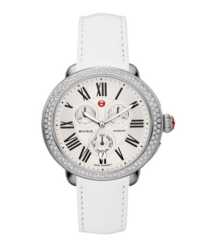 MICHELE Serein Diamond Watch Head & 18mm White Patent Strap