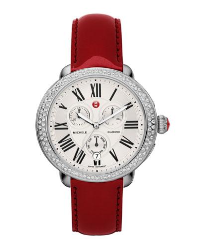 MICHELE Serein Diamond Watch Head & 18mm Scarlet Patent Strap