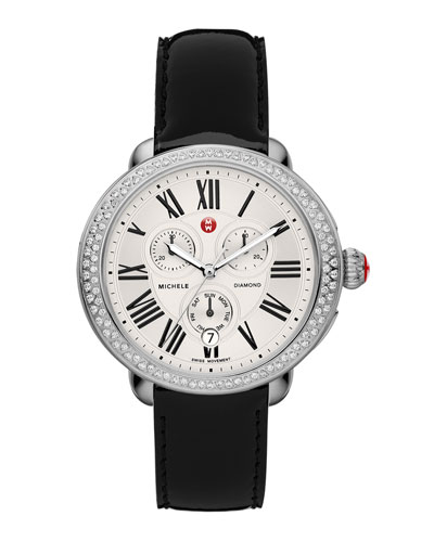 MICHELE Serein Diamond Watch Head & 18mm Black Patent Strap