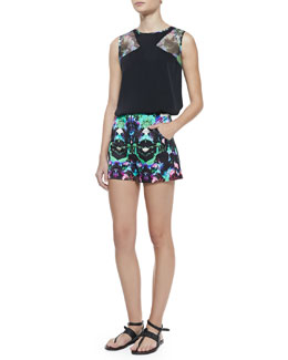 Milly Mesh-Inset Sleeveless Silk Top & Graphic-Print True-Waist Shorts