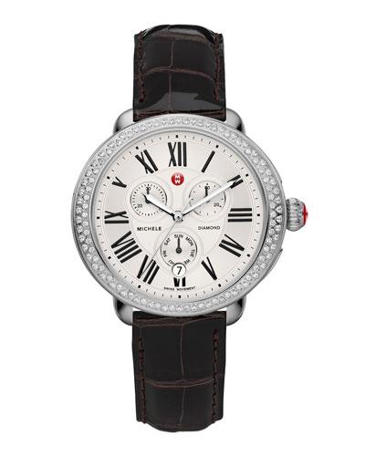 MICHELE Serein Diamond Watch Head & 18mm Espresso Alligator Strap