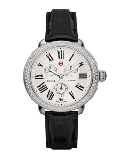 MICHELE Serein Diamond Watch Head & 18mm Black Alligator Strap