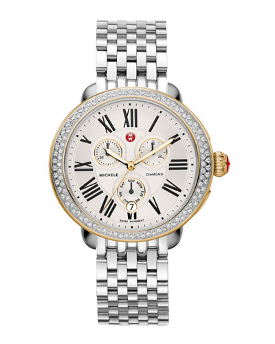 MICHELE Serein Diamond Two-Tone Watch Head & 7-Link Bracelet Strap