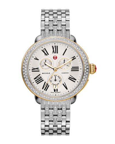 MICHELE Serein Diamond Two-Tone Watch Head & Diamond Taper 7-Link Bracelet Strap