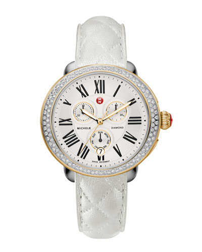 MICHELE Serein Diamond Two-Tone Watch Head & 18mm White Quilted Leather Strap