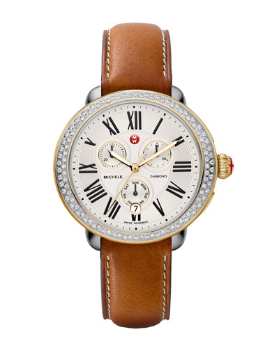 MICHELE Serein Diamond Two-Tone Watch Head & 18mm Saddle Leather Strap