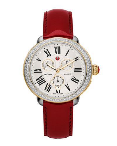 MICHELE Serein Diamond Two-Tone Watch Head & 18mm Scarlet Patent Strap