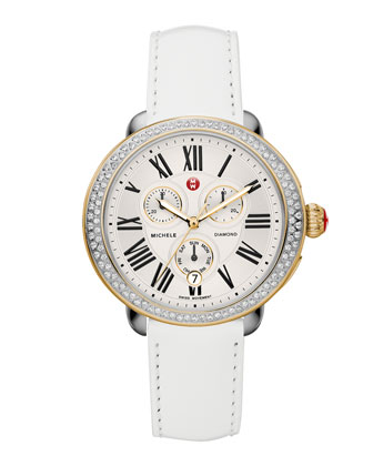 Serein Diamond Two-Tone Watch Head & 18mm White Patent Strap