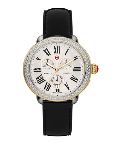 MICHELE Serein Diamond Two-Tone Watch Head & 18mm Black Patent Strap