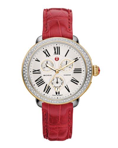 MICHELE Serein Diamond Two-Tone Watch Head & 18mm Garnet Alligator Strap