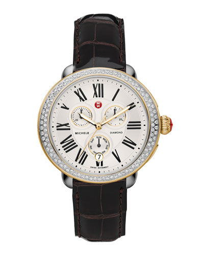 MICHELE Serein Diamond Two-Tone Watch Head & 18mm Espresso Alligator Strap