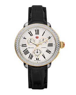 MICHELE Serein Diamond Two-Tone Watch Head & 18mm Black Alligator Strap