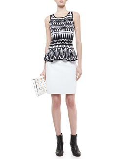 Milly Graphic-Print Shell & Snake-Print Leather Pencil Skirt