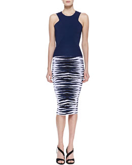 Milly Ribbed Knit Diamond Shell and Ikat Jacquard Midi Skirt