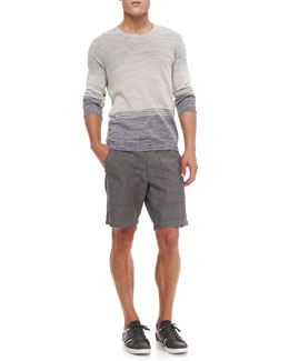 Rag & Bone Hayden Linen/Cotton Crewneck Sweater & Chambray Board Shorts